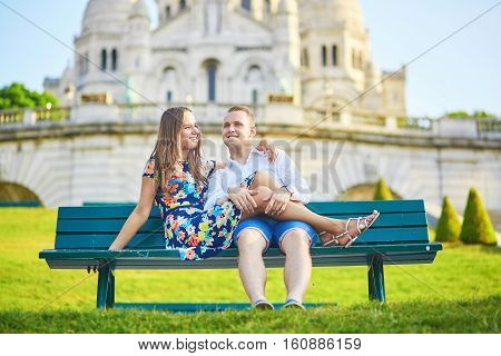 Romantic Couple Near Sacre-coeur Cathedral On Montmartre, Paris