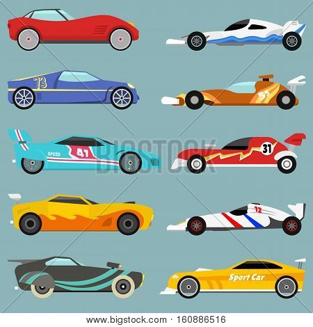 Side view sport car collection in detailed cartoon flat style. Motor sedan automotive fast transport element. Drive wheel graphic vector transportation concept.