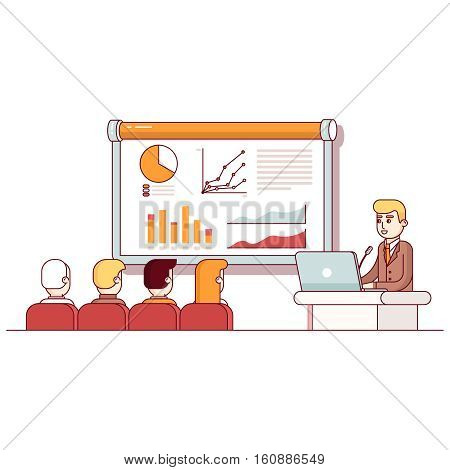 Businessman giving a speech showing sales statistics graph on presentation screen in the conference room. Modern flat style thin line vector illustration. Concept isolated on white background.