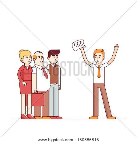 Worried business man yelling at listening people waving hands with paper. Modern flat style thin line vector illustration. Concept isolated on white background.