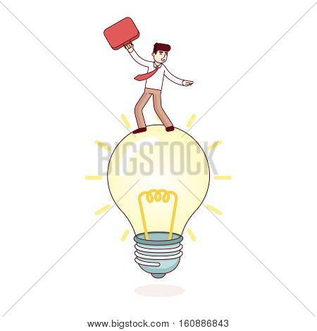 Business man riding bright idea lamp. Entrepreneur leadership concept. Modern flat style thin line vector illustration isolated on white background.