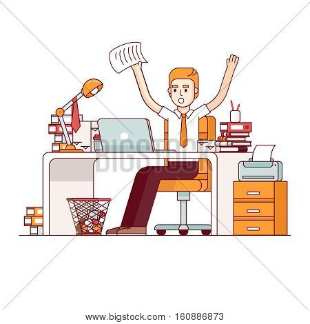 Alarmed, yelling business man waving paper over his head at his office desk. Overworked employee doing lots of paperwork. Modern flat style thin line vector illustration isolated on white background.