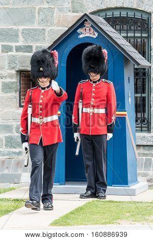 Sentries at The Citadel in Quebec City Quebec Canada