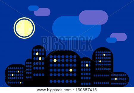 City landscape. Night city under the moon. Some windows are lit. The city sleeps. Insomnia