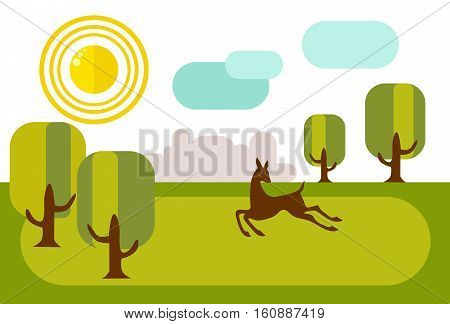 Fawn running on sunny meadow. In the distance is the city's skyline. Beautiful illustration in flat style.