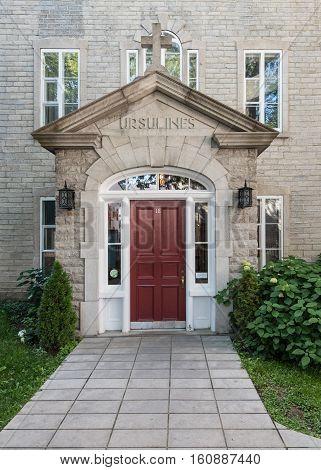 Main Door to Ursulines Monastery of Quebec City in Quebec Canada