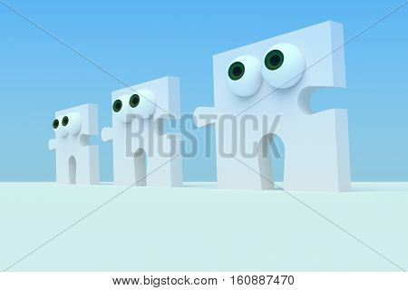 Business Concept: Row of Cartoon Puzzle Pieces With Eyes 3d illustration