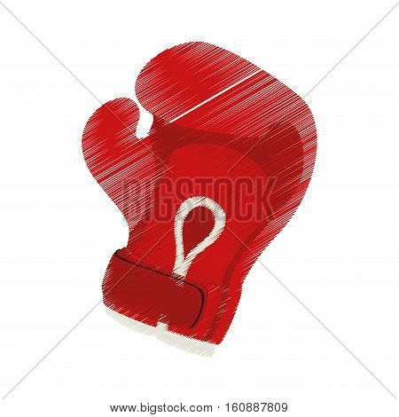 red boxing glove icon over white background. sport equipment concept. colorful and sketch design. vector illustration