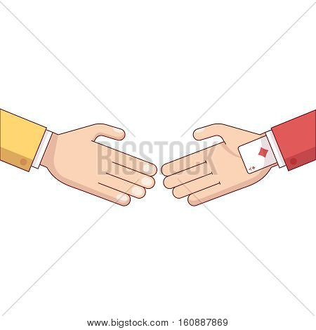 Ace in the hole. Business man hand with a playing card in the suit sleeve. Partner deceive and cheat. Modern flat style thin line vector illustration isolated on white background.