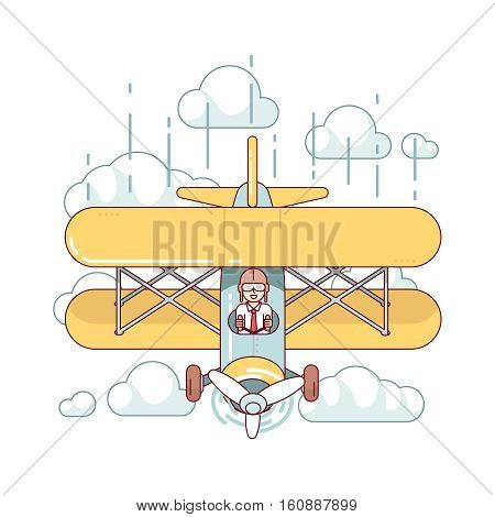 Business man professional pilot flying double-decker air plane high in the sky clouds. Modern flat style thin line vector illustration isolated on white background.