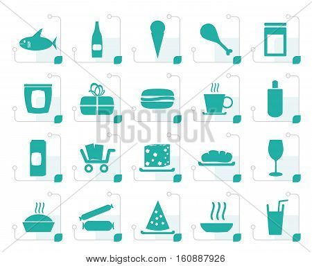 Stylized Shop and Foods Icons - Vector Icon Set