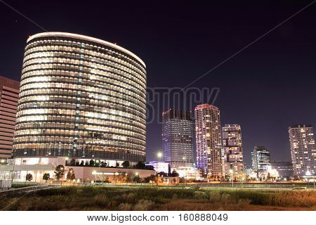 high rise buildings in Yokohama Japan (night scene)