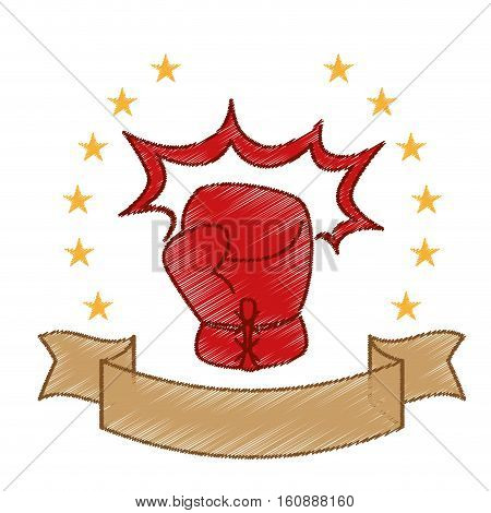 red boxing glove icon with decorative stars and ribbon over white background. sport equipment concept. colorful and sketch design. vector illustration
