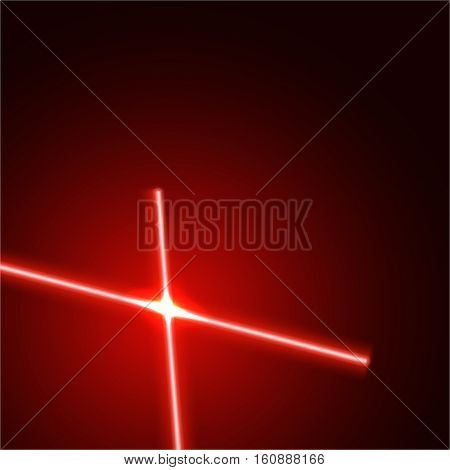 Vector bright red laser beams isolated on dark background with light flares.