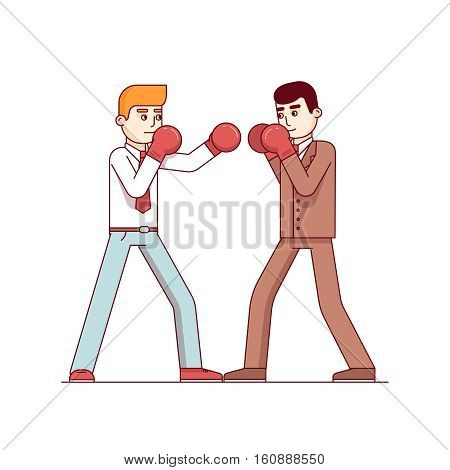 Business man competitors in suits fighting in boxing gloves. On hitting other defending in a box duel. Modern flat style thin line vector illustration isolated on white background.
