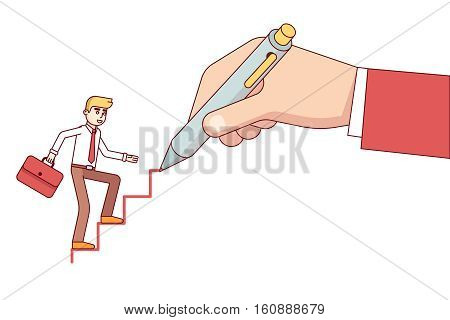 Business mentor huge hand drawing ladder steps for a small business man. Modern flat style thin line vector illustration isolated on white background.