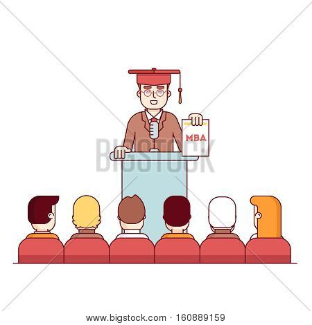 MBA student graduation rostrum speech. Master of business administration graduate showing new diploma to fellow students. Modern flat style thin line vector illustration isolated on white background.