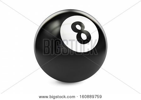 Billiard black eight ball 3D rendering isolated on white background
