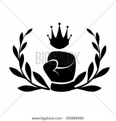 decorative wreath of leaves with boxing glove icon over white background. sport equipment concept. vector illustration
