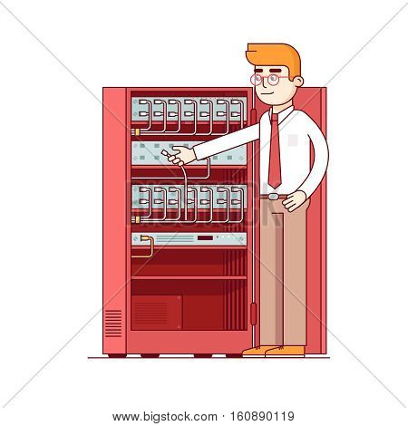 Computer systems engineer connecting internet fiber optic cable to machine in server rack. Network admin working with equipment. Flat style thin line vector illustration isolated on white background.
