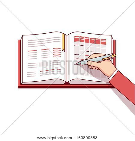 Business man writing his day schedule in notebook or calendar. Making marks with his pen. Modern flat style thin line vector illustration. Concept isolated on white background.