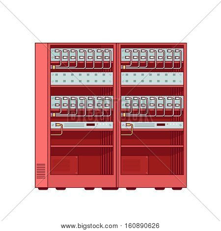 Network server racks. Internet web service equipment. Modern flat style thin line vector illustration. Concept isolated on white background.