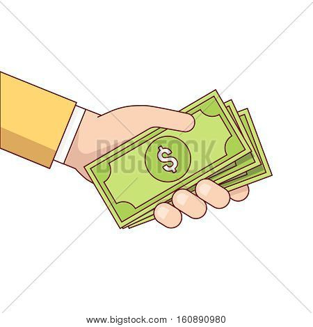 Business man hand holding and giving dollar bills cash money. Modern flat style thin line vector illustration isolated on white background.