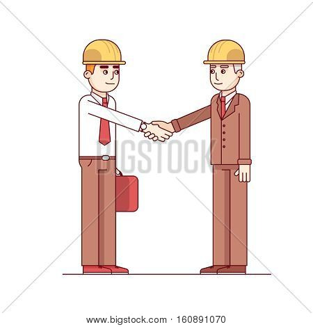 Business man and engineer or architect in hard hats standing shaking hands. Modern flat style thin line vector illustration isolated on white background.