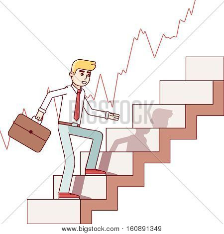 Business man and stock trader walking up the trend stairs of growing market. Career growth ladder concept. Modern flat style thin line vector illustration isolated on white background.