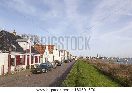 Durgerdam, Netherlands, 22 november 2016: small houses with wooden parts in durgerdam near amsterdam in the netherlands