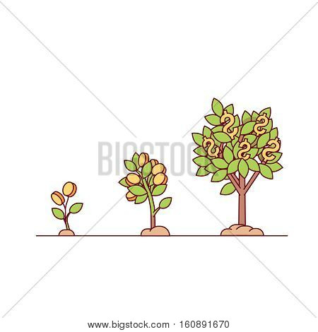 Growing money tree. Green cash and coins sprouts rising from good fertilised soil. Modern flat style thin line vector illustration isolated on white background.