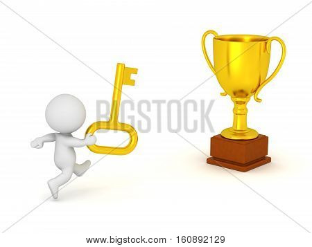3D character with a gold key running toward a gold trophy. Isolated on white background.
