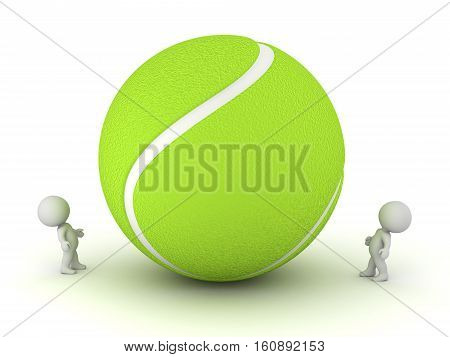 Two small 3D characters looking up at a large tennis ball. Isolated on white background.
