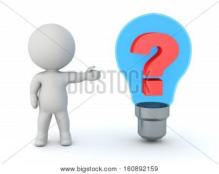 3D character showing a light bulb with a question symbol inside. Isolated on white background.