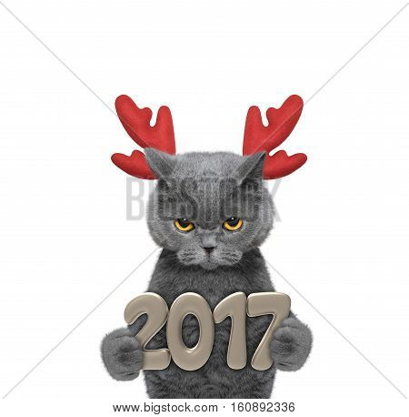 Cute santa cat in reindeer antlers with 2017 new year numbers -- isolated on white