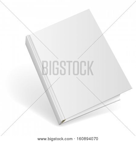 3D blank hardcover book isolated on white background. Raster copy.