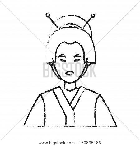 Woman icon. China cultura asia chinese theme. Isolated design. Vector illustration