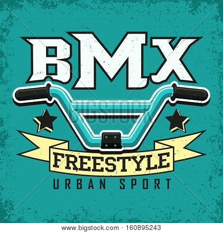 Vintage t-shirt graphic design,  grange print stamp, bmx typography emblem,  bmx freestyle sports logo Creative design, Vector