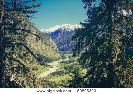 Mountain summer landscape with forest and high peaks. Caucasus. Russia. A view of the main Caucasian ridge. Biosphere Reserve resort Dombay. The concept of travel and tourism.