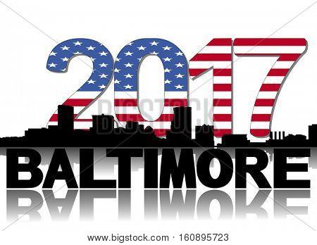Baltimore skyline 2017 flag text illustration