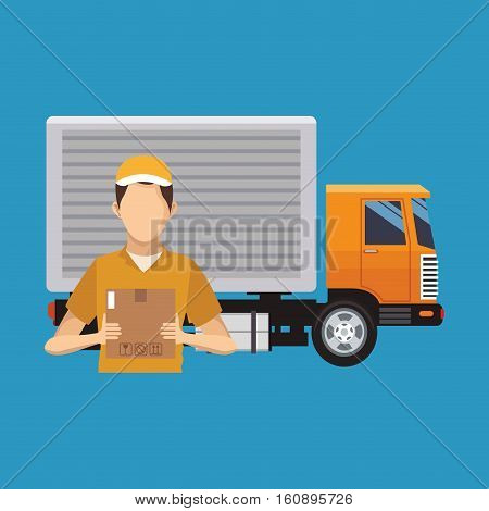 Box truck and man icon. Delivery shipping and logistics theme. Vector illustration
