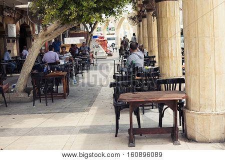 Egypt Sharm el sheikh - august 2016: restaurant pub outside front alfresco, open air