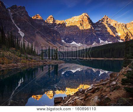 Moraine lake is a glaciated lake in Banff, Alberta Canada.