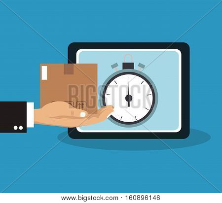 Box tablet and chronometer icon. Delivery shipping and logistics theme. Vector illustration