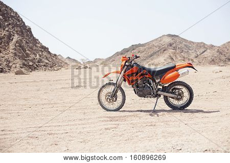 Egypt Sharm el sheikh - august 2016: The bike KTM is parked in the desert without people