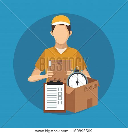 Box man and chronometer icon. Delivery shipping and logistics theme. Vector illustration