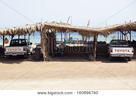 Egypt Sharm el sheikh - august 2016: Toyota SUV car under cover safari tourism without people