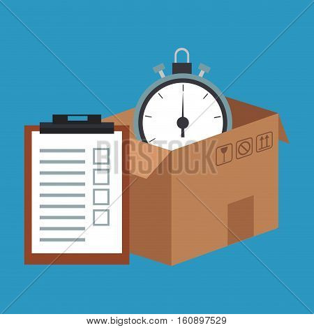 Box checklist, and chronometer icon. Delivery shipping and logistics theme. Vector illustration