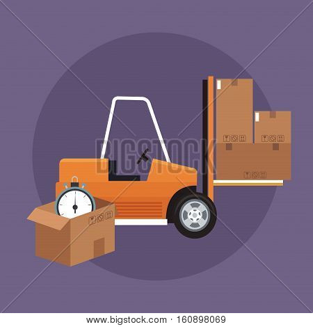 Box forklift and chronometer icon. Delivery shipping and logistics theme. Vector illustration