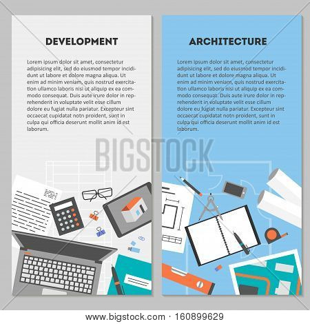 Set vertical banners drawings objects and devices for performing architectural project, preparation for construction and development, flat icons vector illustration
